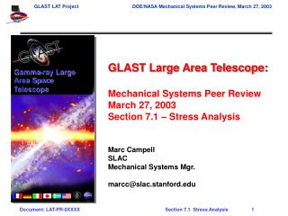GLAST Large Area Telescope: Mechanical Systems Peer Review March 27, 2003
