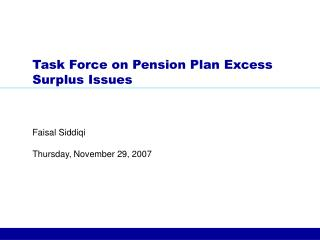 Task Force on Pension Plan Excess Surplus Issues