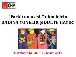"""""""Farklı ama eşit"""" olmak için KADINA YÖNELİK ŞİDDETE HAYIR!"""