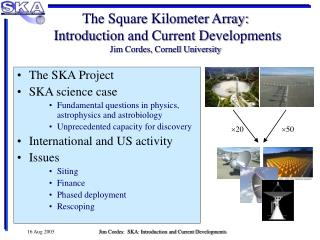 The Square Kilometer Array:  Introduction and Current Developments Jim Cordes, Cornell University