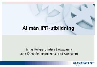 Allmän IPR-utbildning