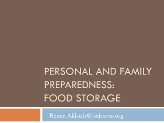 Personal and Family Preparedness: Food Storage