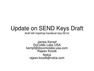 Update on SEND Keys Draft draft-ietf-mipshop-handover-key-00.txt
