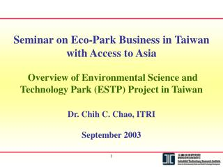 Seminar on Eco-Park Business in Taiwan with Access to Asia