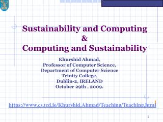 Sustainability and Computing  & Computing and Sustainability