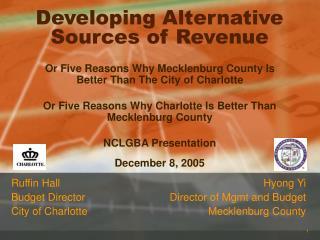 Developing Alternative Sources of Revenue