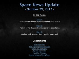 Space News Update - October 29, 2012 -