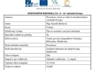 IDENTIFIKÁTOR MATERIÁLU: EU - 6  – 15- východní Evropa