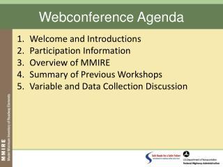 Webconference Agenda