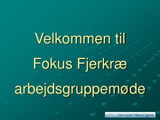 Velkommen til Fokus Fjerkræ arbejdsgruppemøde