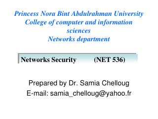 Prepared by Dr. Samia Chelloug E-mail: samia_chelloug@yahoo.fr