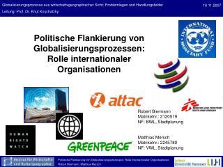 Politische Flankierung von Globalisierungsprozessen: Rolle internationaler Organisationen