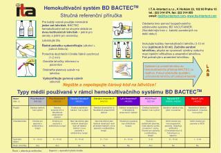 Hemokultivační systém  BD BACTEC TM Stručná referenční příručka