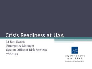 Crisis Readiness at UAA