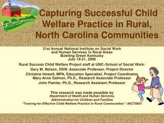 Capturing Successful Child Welfare Practice in Rural, North Carolina Communities