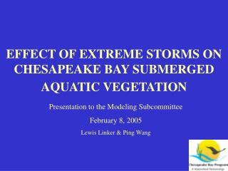 EFFECT OF EXTREME STORMS ON CHESAPEAKE BAY SUBMERGED AQUATIC VEGETATION