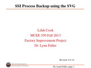 SSI Process Backup using the SVG