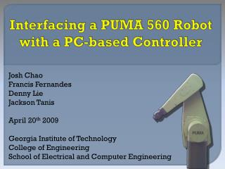 Interfacing a PUMA 560 Robot with a PC-based Controller
