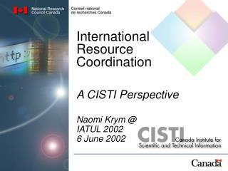 International Resource Coordination