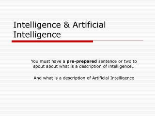 Intelligence & Artificial Intelligence
