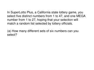 Answer: C(47,5)xC(27,1) = 1,533,939 x 27 = 41,416,353