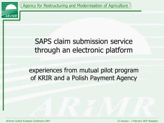 SAPS claim submission service through an electronic platform