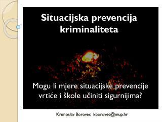 Situacijska prevencija kriminaliteta