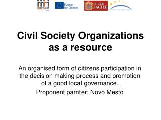 Civil Society Organizations as a resource