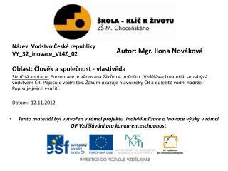 Název: Vodstvo České republiky VY_32_inovace_VL4Z_02