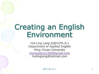 Creating an English Environment