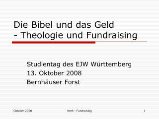 Die Bibel und das Geld - Theologie und Fundraising