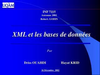 XML et les bases de donn�es