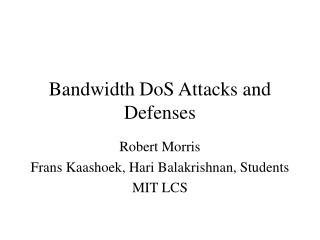 Bandwidth DoS Attacks and Defenses