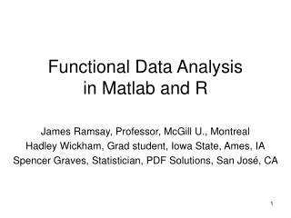 Functional Data Analysis  in Matlab and R