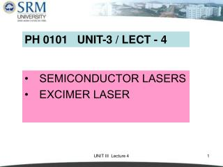 SEMICONDUCTOR LASERS EXCIMER LASER