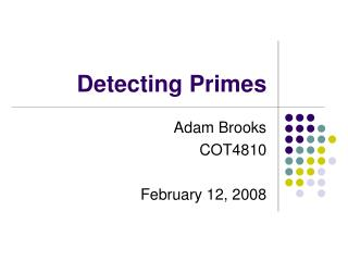 Detecting Primes
