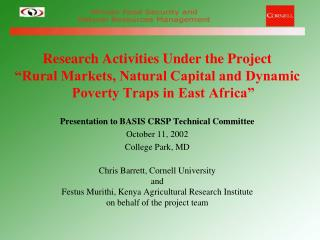 Research Activities Under the Project