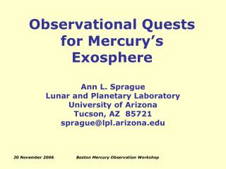 Observational Quests for Mercury's Exosphere