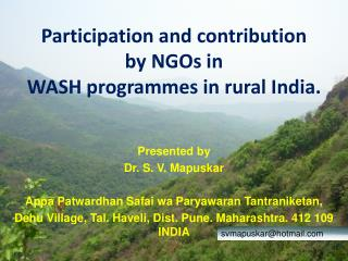 Participation and contribution  by NGOs in  WASH programmes in rural India.