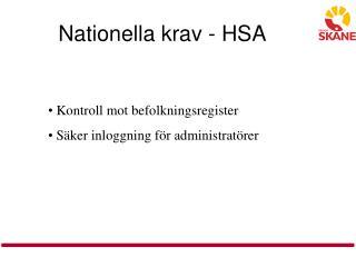 Nationella krav - HSA