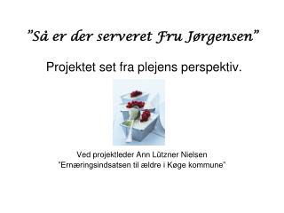 """""""Så er der serveret Fru Jørgensen"""" Projektet set fra plejens perspektiv."""