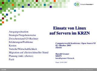 Einsatz von Linux  auf Servern im KRZN
