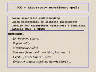 ICE - Laboratory experiment goals