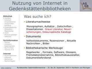 Nutzung von Internet in Gedenkstättenbibliotheken
