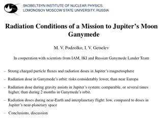 SKOBELTSYN INSTITUTE OF NUCLEAR PHYSICS, LOMONOSOV MOSCOW STATE UNIVERSITY, RUSSIA