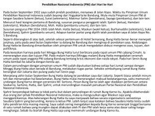 Pendidikan Nasional Indonesia (PNI) dari Hari ke Hari
