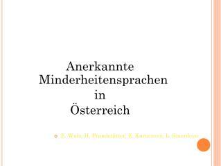 Anerkannte Minderheitensprachen  in  Österreich