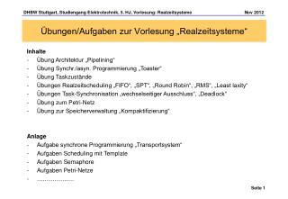 """Übungen/Aufgaben zur Vorlesung """"Realzeitsysteme"""""""