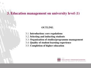 3. Education management on university level (1)