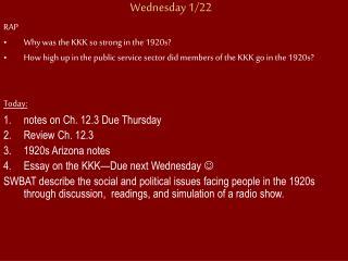Wednesday 1/22
